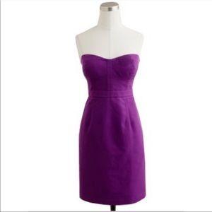J. Crew Purple Strapless Silk Blend Belinda Dress